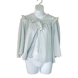 Vintage 736 Blue Long Sleeve Silk Slip Top S